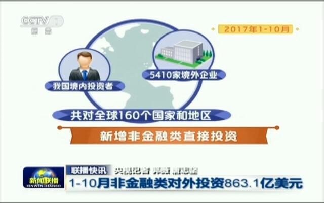 联播快讯:1-10月非金融类对外投资863.1亿美元