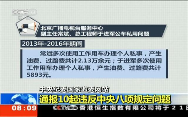中央纪委国家监委网站:通报10起违反中央八项规定问题