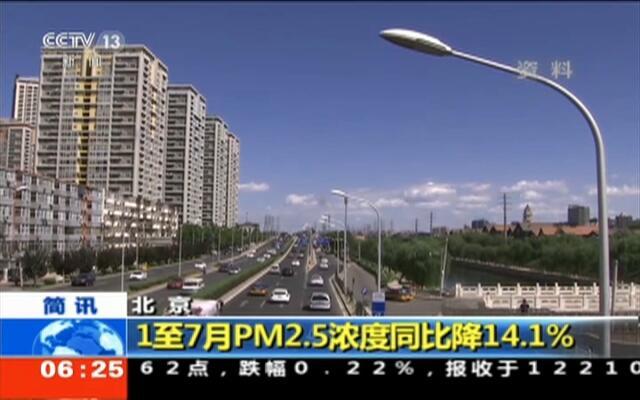 北京:1至7月PM2.5浓度同比降14.1%