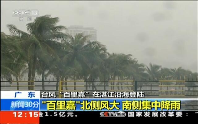 """广东:台风""""百里嘉""""上午在湛江沿海登陆"""