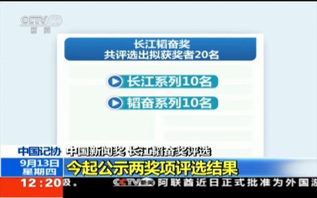 中国记协:中国新闻奖 长江韬奋奖评选——今起公示两奖项评选结果