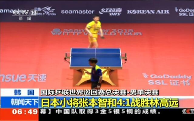 韩国:国际乒联世界巡回赛总决赛·男单决赛——日本小将张本智和4比1战胜林高远
