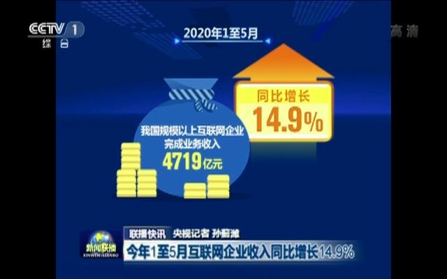 联播快讯:今年1至5月互联网企业收入同比增长14.9%